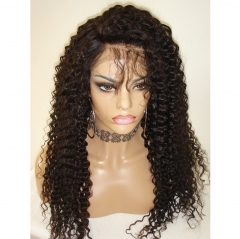 Deep Wave 300% High Density Lace Front Wig Virgin Human Hair Wig With Baby Hair Pre Plucked Hairline