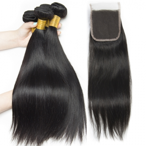 3PCS Straight Hair Bunles With Clousre Virgin Hair Closure With Bundle 4pcs/Lot