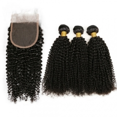 3PCS Kinky Curly Hair Bundles With Closure Virgin Hair Closure With Hair Weft Extensions 4PCS Lot