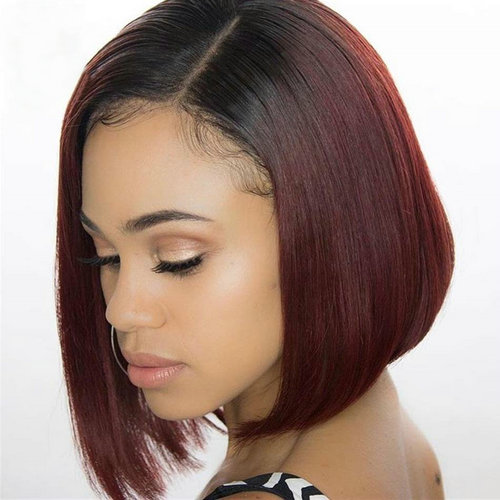 Ombre Bob Wig 1b/99j Straight Lace Front Wig Virgin Human Hair Cut Bob Wig