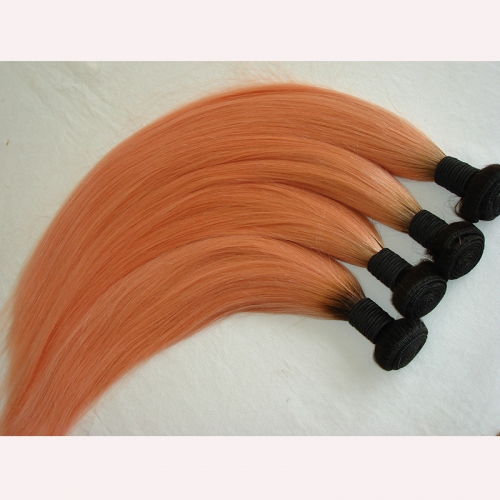 3PCS Lot ombre Hair Bundles 1b/Pink Hair Weaving Pink Hair With Dark Root