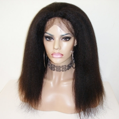 Kinky Straight Lace Front Wig Pre Plucked Human Hair Wig For Black Women
