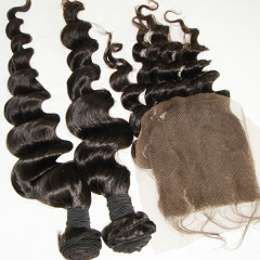 2PC Loose Wave Hair Bundles With 1PC 5X5 Lace Closure Virgin Hair Bundles With Closure 3PCS Lot