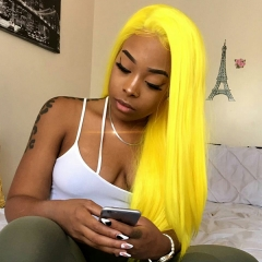 Yellow Full Lace Wig Pre Plucked Virgin Hair Wig With Baby Hair