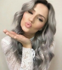 Grey Color Human Hair Wigs with Baby Hair Virgin Human Hair Straight Full Lace Wig Pre Plucked