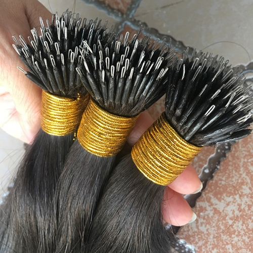 Nano Ring Human Hair Extensions 0.8g/s Keratin Straight European Micro Beads Hair Exensions