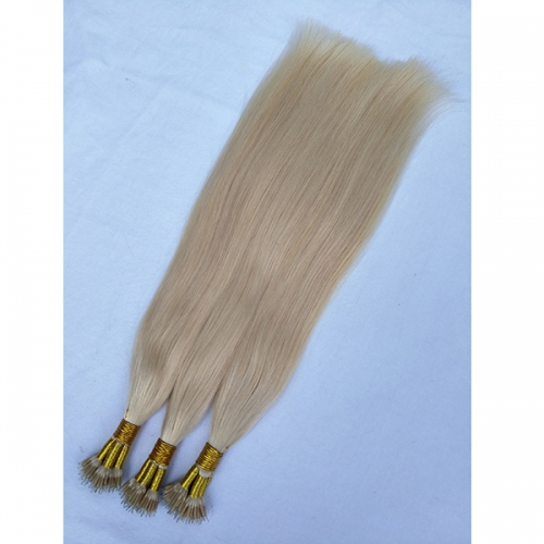 #60 Blonde Nano Ring Human Hair Extensions 0.8g/s Keratin Straight European Micro Beads Hair Exensions