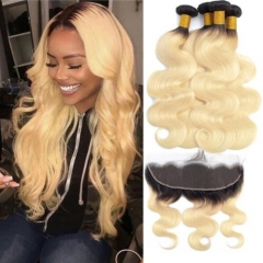 4 Pcs/Lot 1B/ 613 Ombre Blonde Bundles With Frontal Virgin Hair Body Wave 3 Bundles With Frontal Blonde Hair Bundle With Dark Root Extensions
