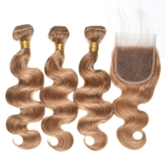 4 Pcs/Lot Honey Blonde Hair Bundles With Lace Closure Virgin Human Hair Blundle With Closure Body Wave #27 Human Hair Extension