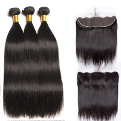 13x4 Ear To Ear Lace Frontal With Bundles Virgin Straight Hair Bundles With Closure Human Hair Bundles With Closure