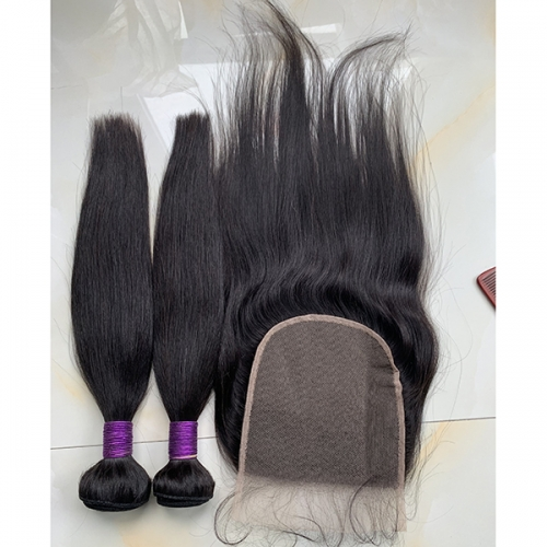 2pcs Straight Hair Bunles With Clousre Virgin Human Hair With Lace Closure 6x6 3pcs Lot