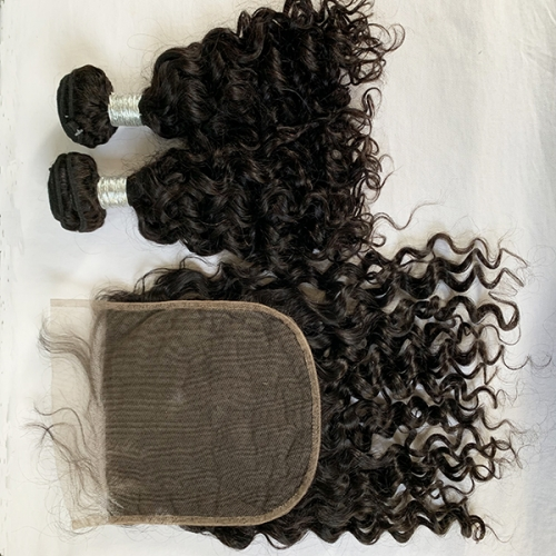 Water Wave Hair Bundles With Closure 7x7 Peruvian Hair Bunles With Lace Clsoure 7X7 3pcs Lot