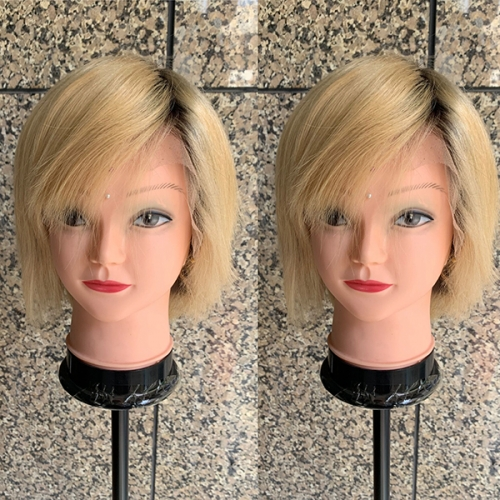 Short Lace Front Wig 180% Density Ombre Blonde Lace wig Virgin Human Hair Blonde Wig With Dark Root
