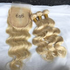 4 Pcs/Lot Blonde Hair Bundles With Lace Closure 6*6 Virgin Human Hair Closure With Hair Bundles #613 Hair Weft Blonde Lace Closure