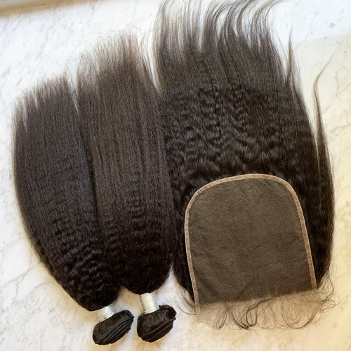Kinky Straight Hair Bunldes With Lace Closure 7X7 Virgin Human Hair Bundles Kinky Straight Hair With Closure 3pcs/Lot