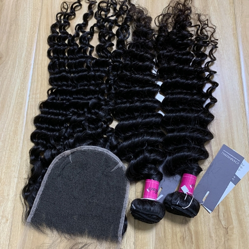 Deep Wave Hair Bundles With HD Lace Closure 6x6 Peruvian Hair With Lace Closure 3pcs/Lot