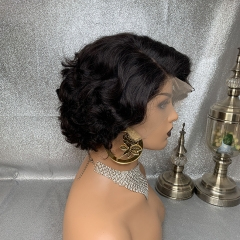 180% Density Pixie Cut Hairstyle Curly 13x6 Lace Wig Virgin Human Hair Lace Wigs For Women Pixie Wig Short Bob Wig