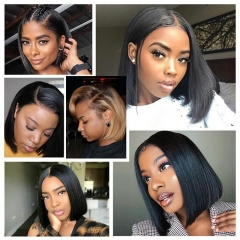 Straight Bob Wig Virgin Hair Lace Front Wig With Baby Hair For Black Women