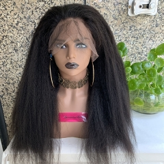 150% Density Kinky Straight Full Lace wig Brazilian Virgin Human Hair Lace Wigs Pre Plucked Hairline